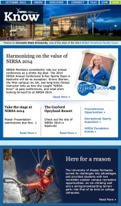 NIRSA Know, Association Newsletter, Issue October 2013